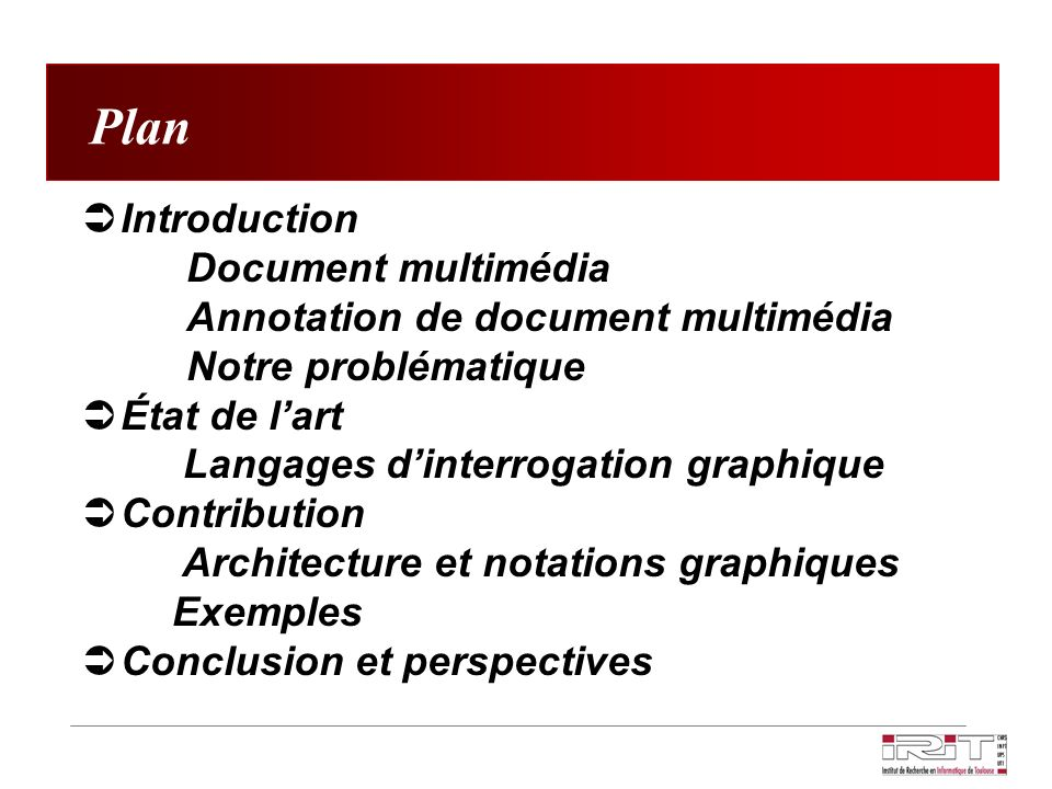 Plan Introduction Document multimédia