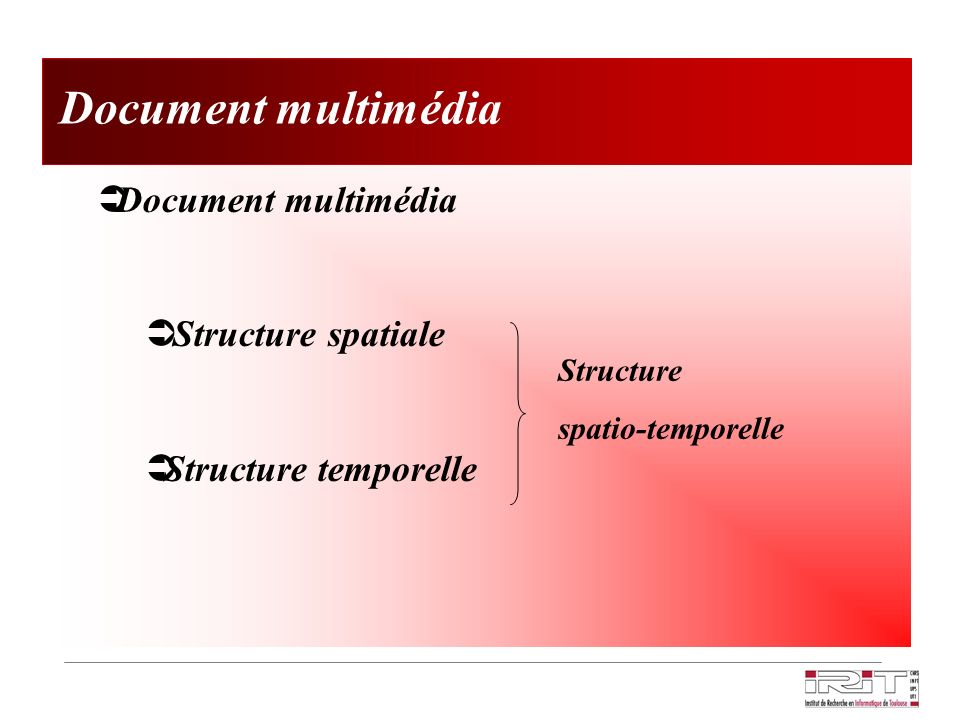 Document multimédia Document multimédia Structure spatiale