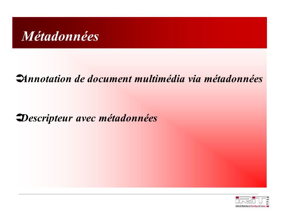 Métadonnées Annotation de document multimédia via métadonnées