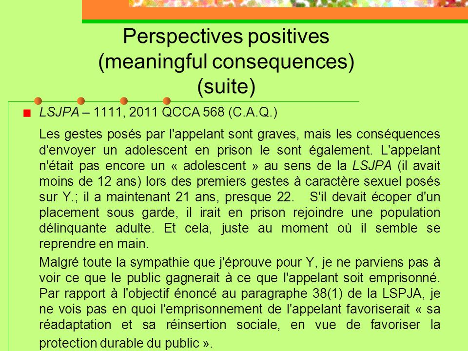 Perspectives positives (meaningful consequences) (suite)