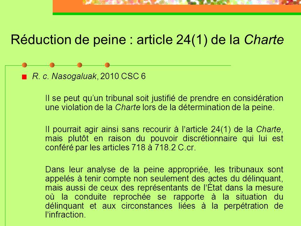 Réduction de peine : article 24(1) de la Charte