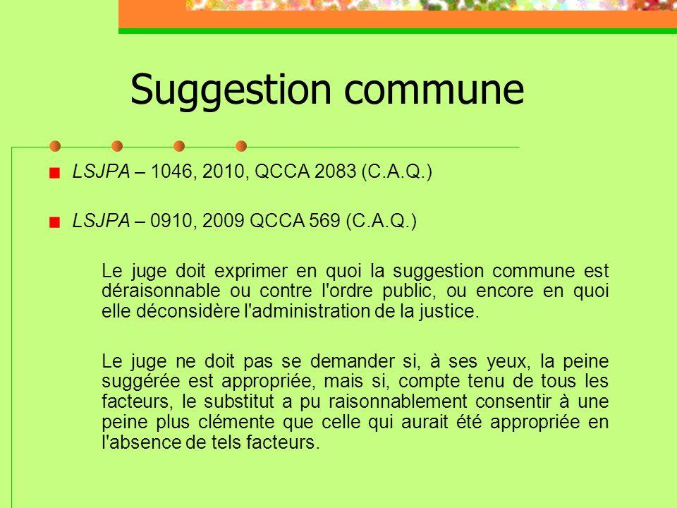 Suggestion commune LSJPA – 1046, 2010, QCCA 2083 (C.A.Q.)