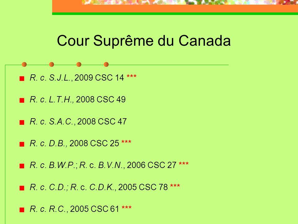 Cour Suprême du Canada R. c. S.J.L., 2009 CSC 14 ***