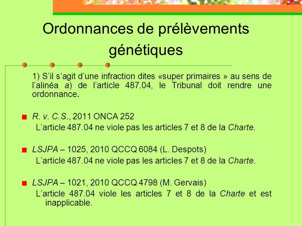 Ordonnances de prélèvements génétiques