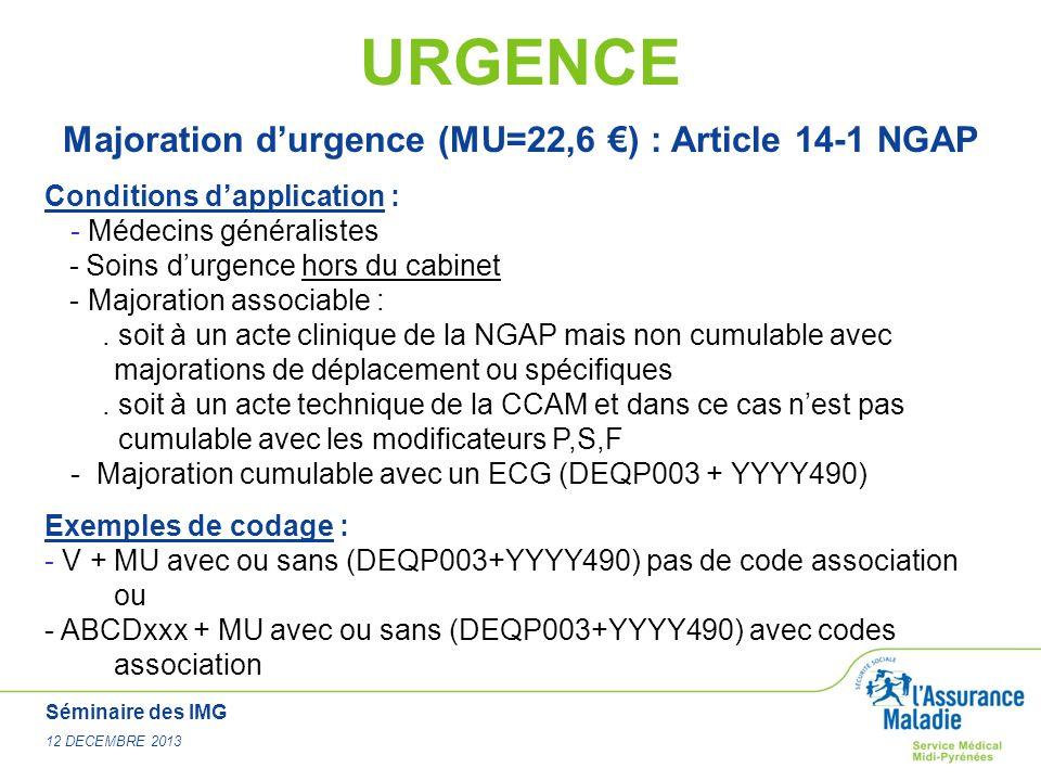 Majoration d'urgence (MU=22,6 €) : Article 14-1 NGAP