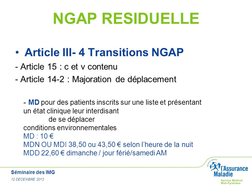 NGAP RESIDUELLE Article III- 4 Transitions NGAP