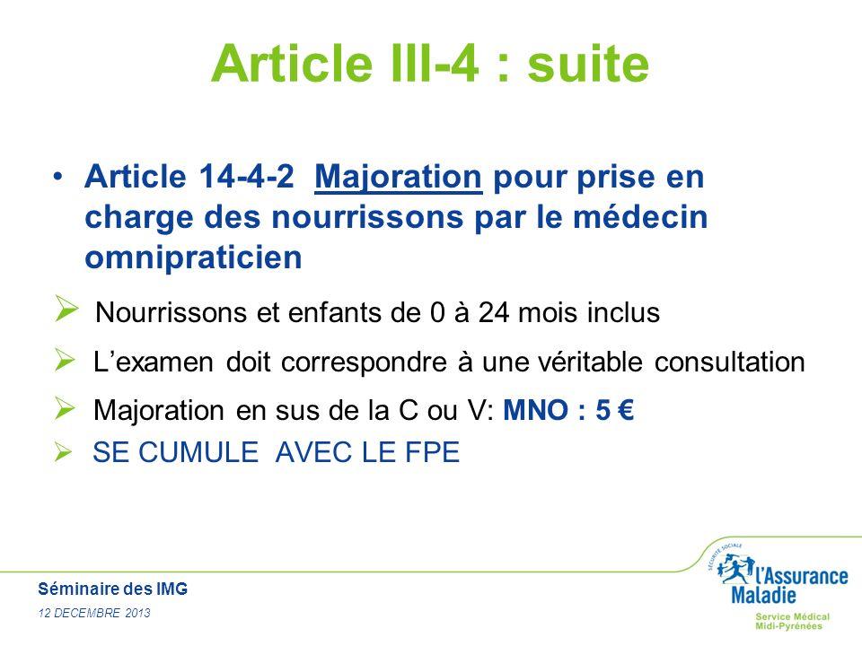 Article III-4 : suite Nourrissons et enfants de 0 à 24 mois inclus