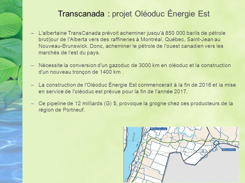 Transcanada : projet Oléoduc Énergie Est