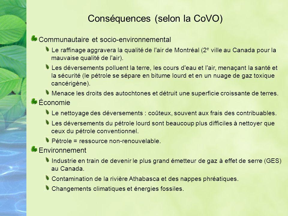 Conséquences (selon la CoVO)