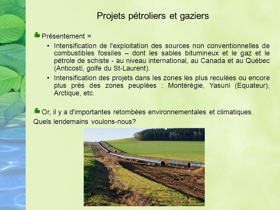 Projets pétroliers et gaziers