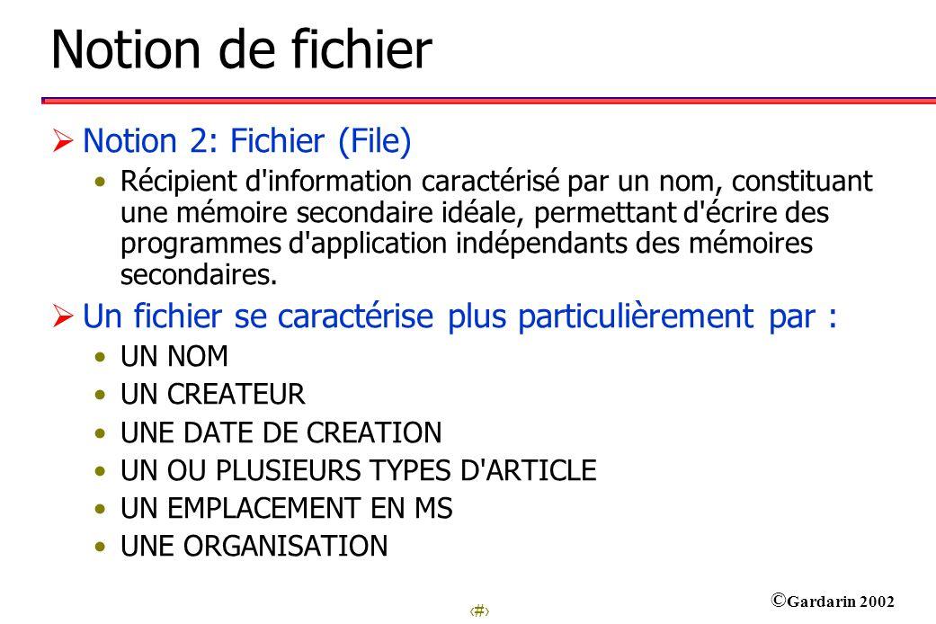 Notion de fichier Notion 2: Fichier (File)