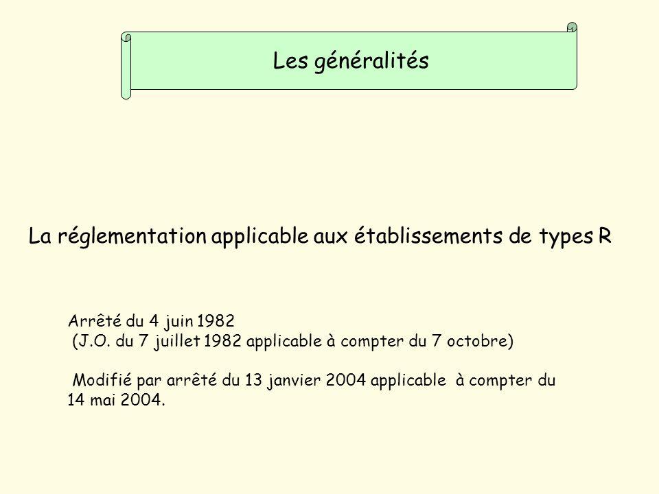Les généralités La réglementation applicable aux établissements de types R. Arrêté du 4 juin 1982.