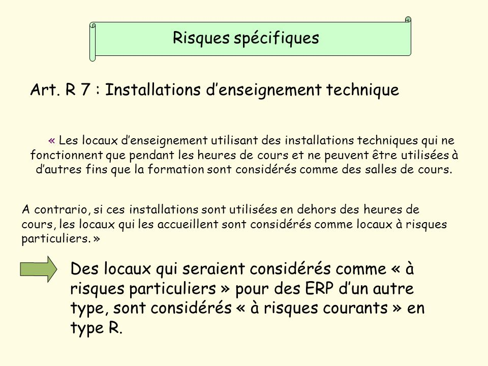 Art. R 7 : Installations d'enseignement technique