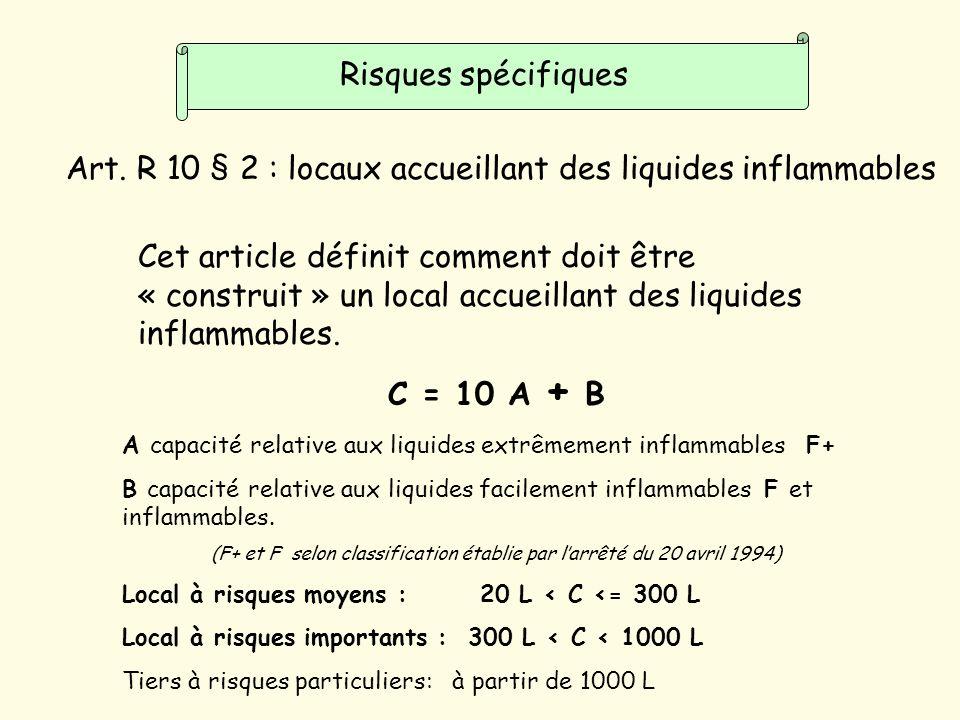 (F+ et F selon classification établie par l'arrêté du 20 avril 1994)