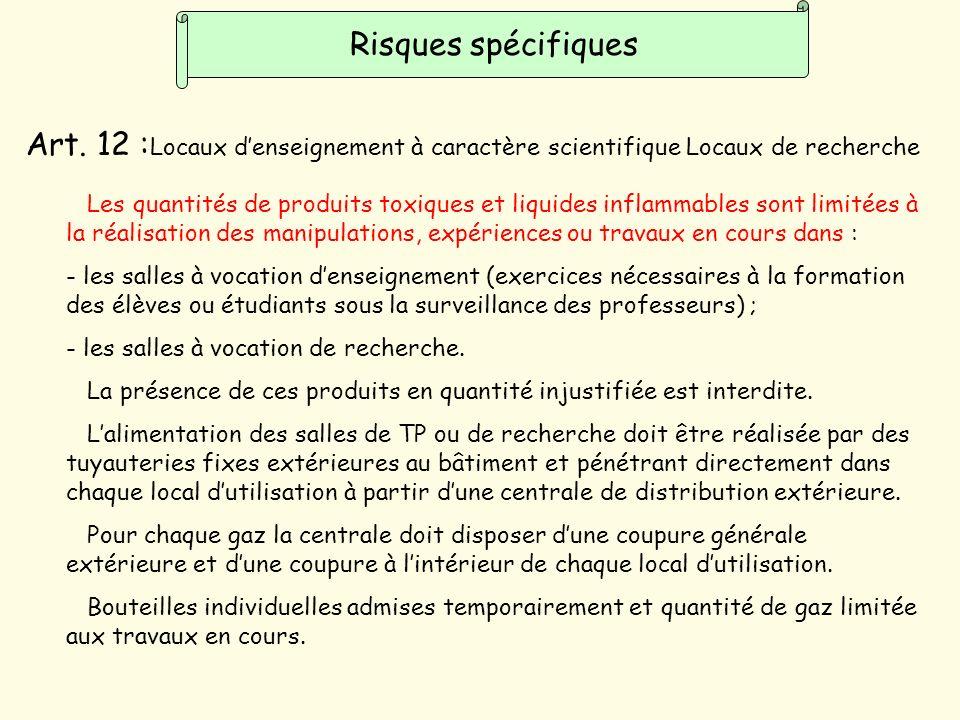 Risques spécifiques Art. 12 :Locaux d'enseignement à caractère scientifique Locaux de recherche.
