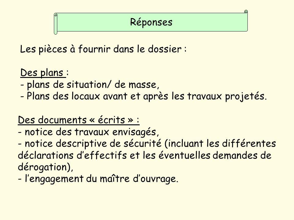 Réponses Les pièces à fournir dans le dossier : Des plans : plans de situation/ de masse, Plans des locaux avant et après les travaux projetés.