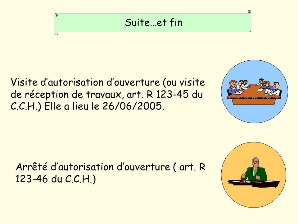 Suite…et fin Visite d'autorisation d'ouverture (ou visite de réception de travaux, art. R 123-45 du C.C.H.) Elle a lieu le 26/06/2005.