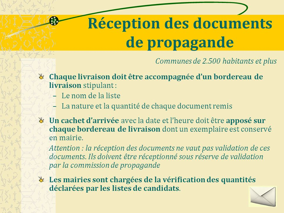 Réception des documents de propagande