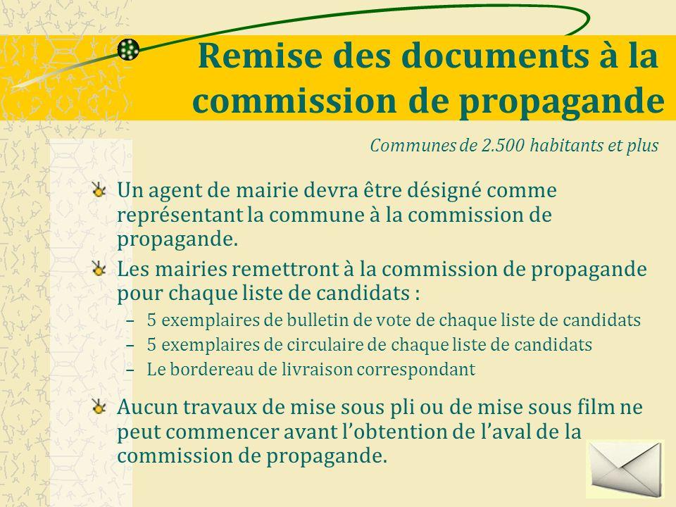 Remise des documents à la commission de propagande