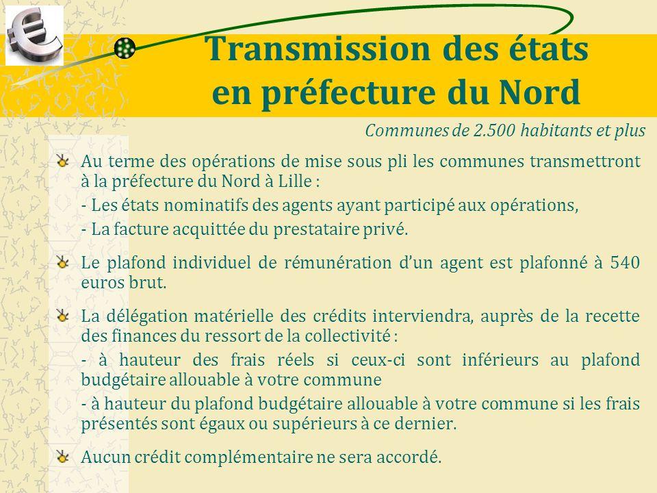 Transmission des états en préfecture du Nord