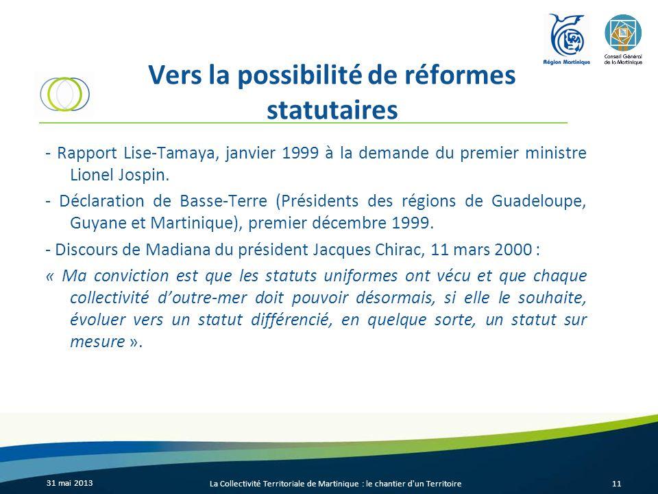 Vers la possibilité de réformes statutaires
