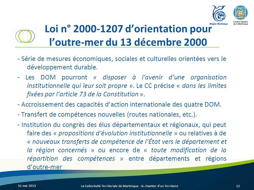 Loi n° 2000-1207 d'orientation pour l'outre-mer du 13 décembre 2000