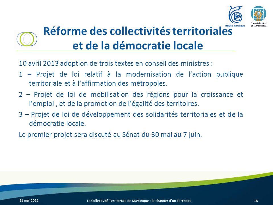 Réforme des collectivités territoriales et de la démocratie locale