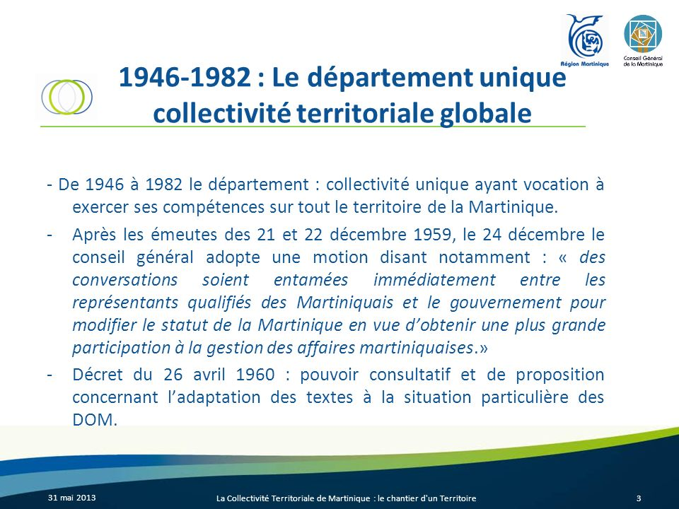 1946-1982 : Le département unique collectivité territoriale globale