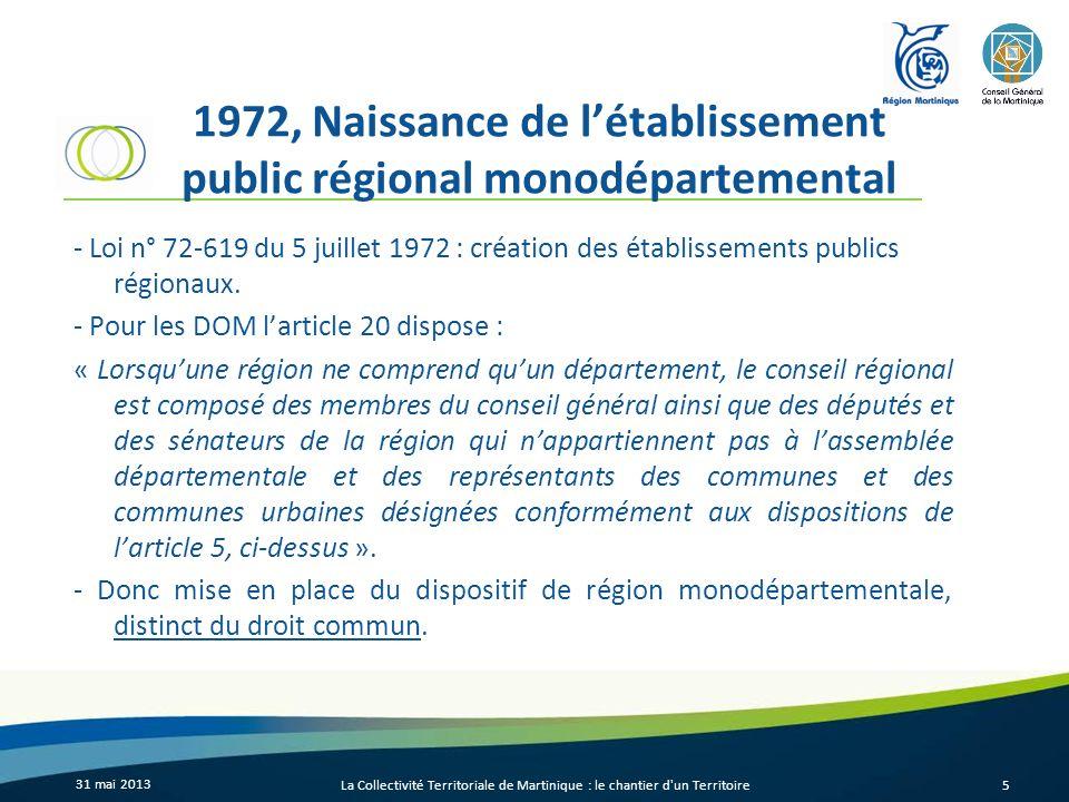 1972, Naissance de l'établissement public régional monodépartemental