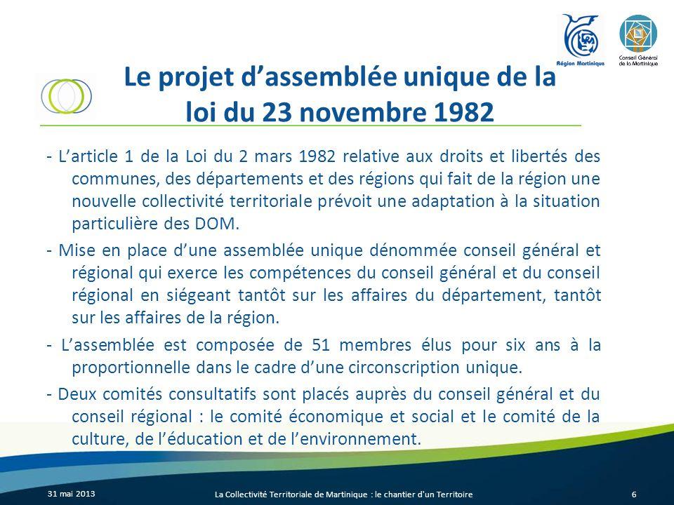 Le projet d'assemblée unique de la loi du 23 novembre 1982