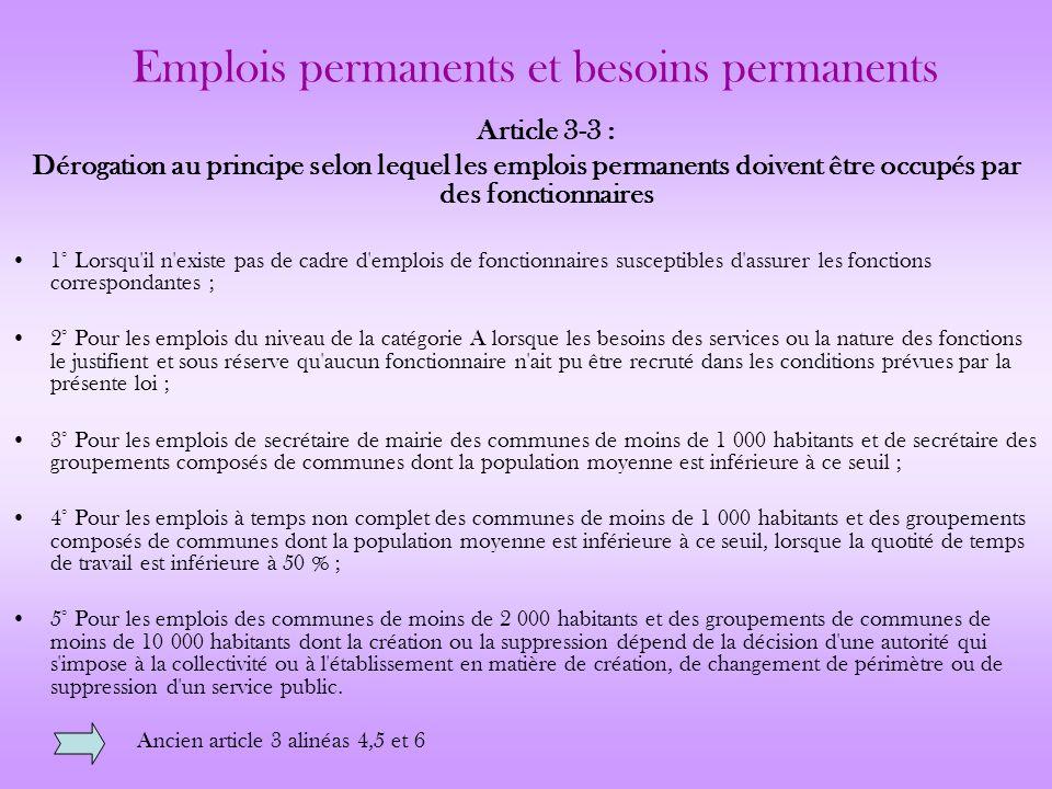 Emplois permanents et besoins permanents
