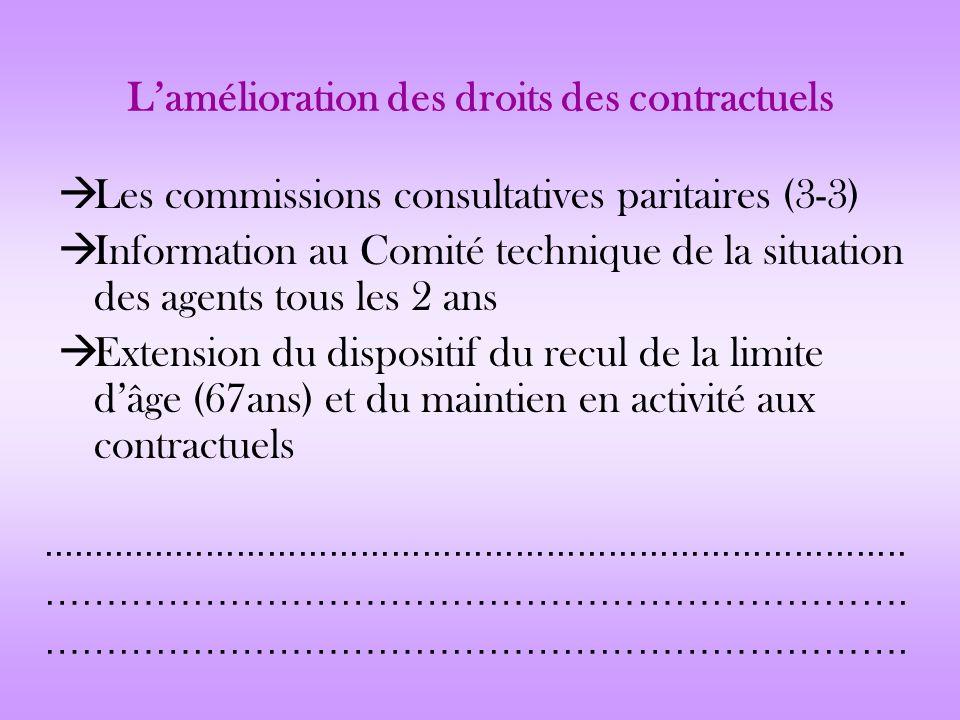 L'amélioration des droits des contractuels