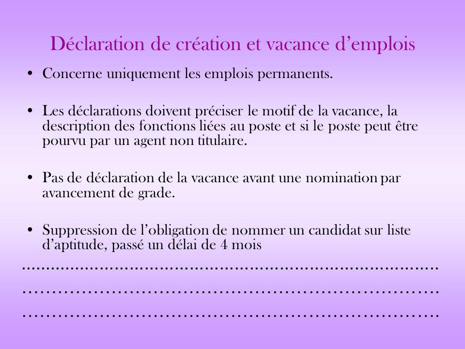 Déclaration de création et vacance d'emplois