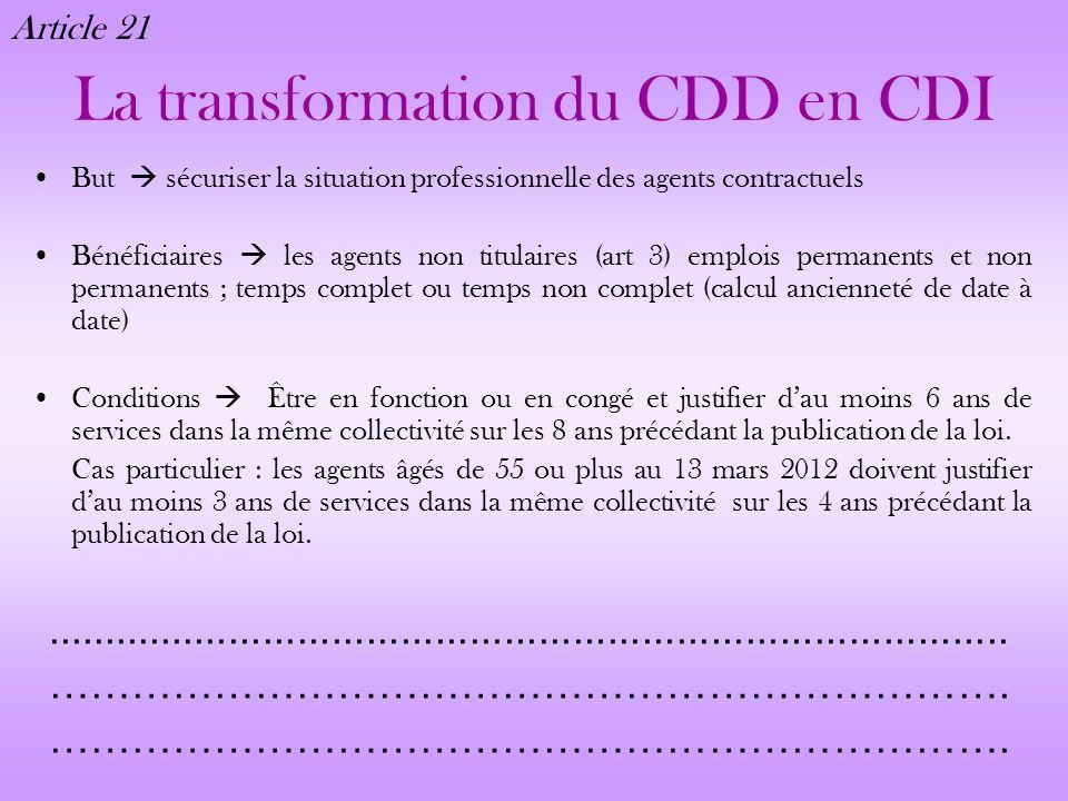 La transformation du CDD en CDI