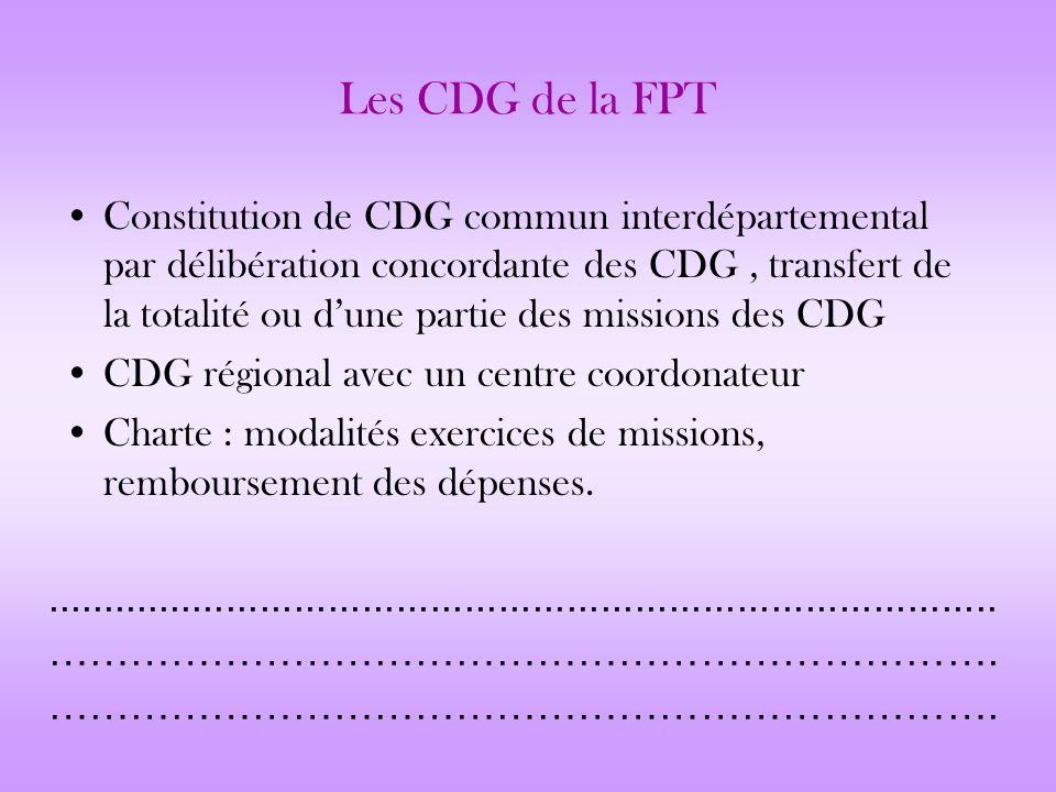 Les CDG de la FPT