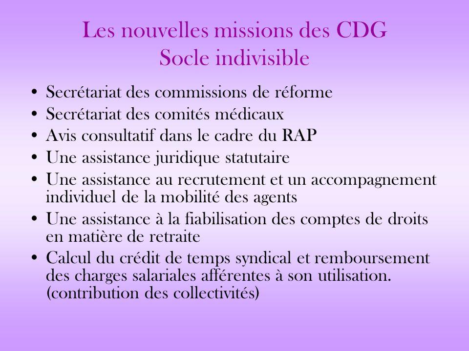 Les nouvelles missions des CDG Socle indivisible