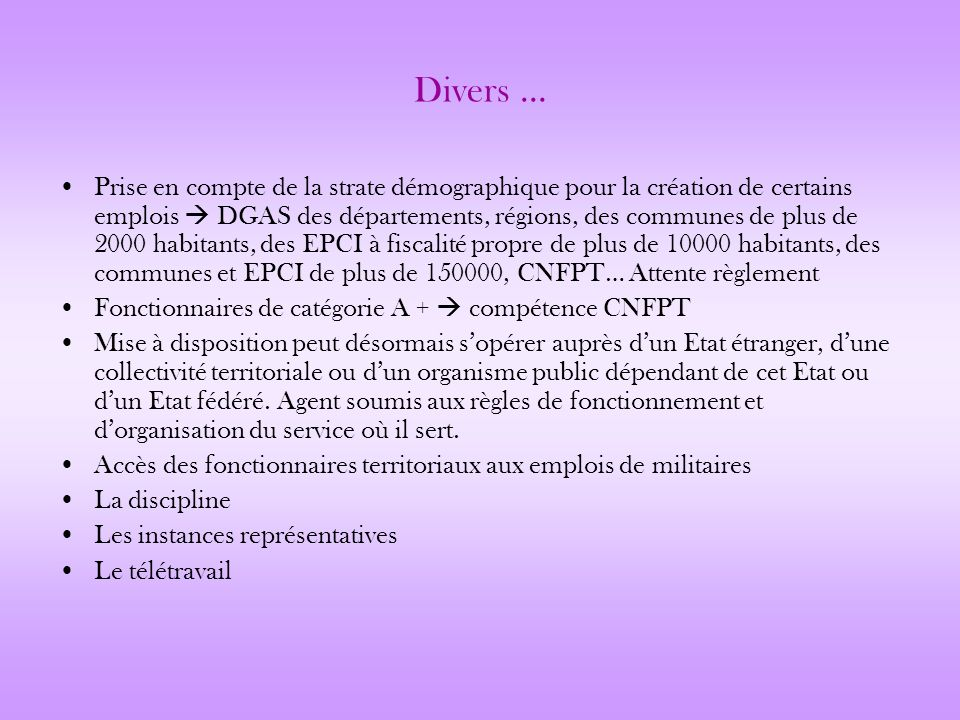 Divers …