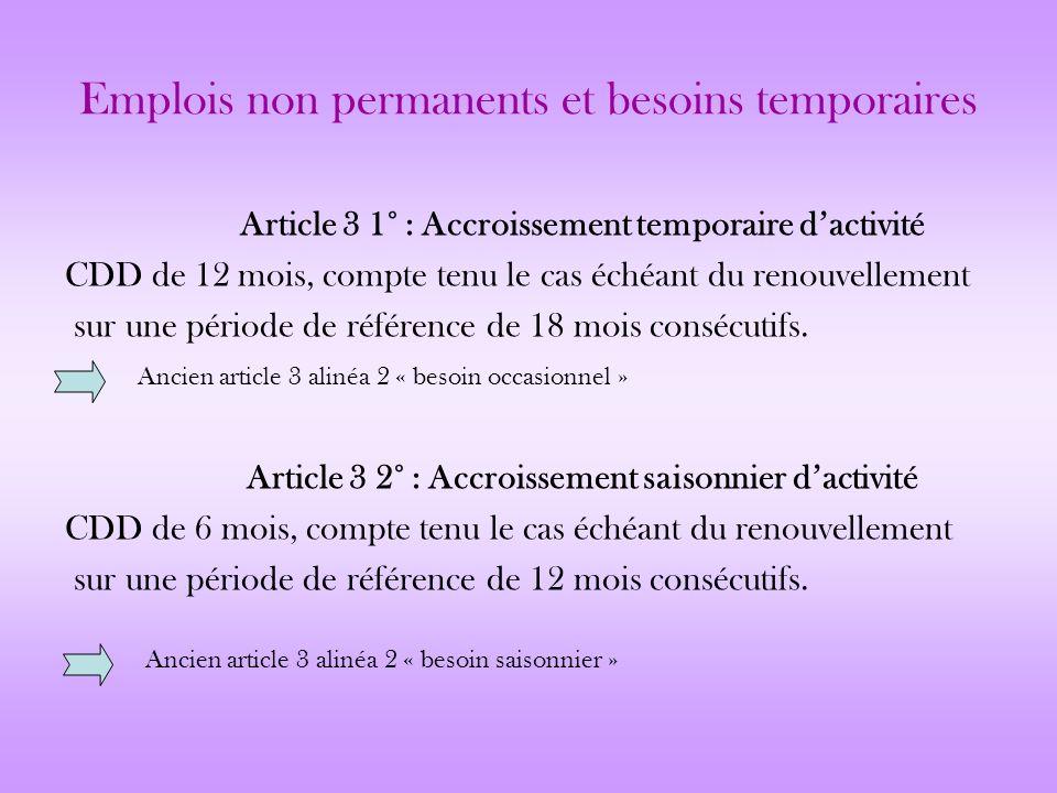 Emplois non permanents et besoins temporaires