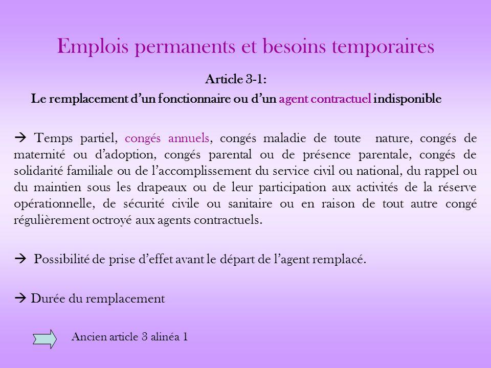 Emplois permanents et besoins temporaires