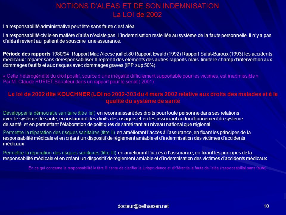 NOTIONS D'ALEAS ET DE SON INDEMNISATION