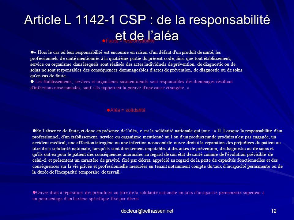 Article L 1142-1 CSP : de la responsabilité et de l'aléa