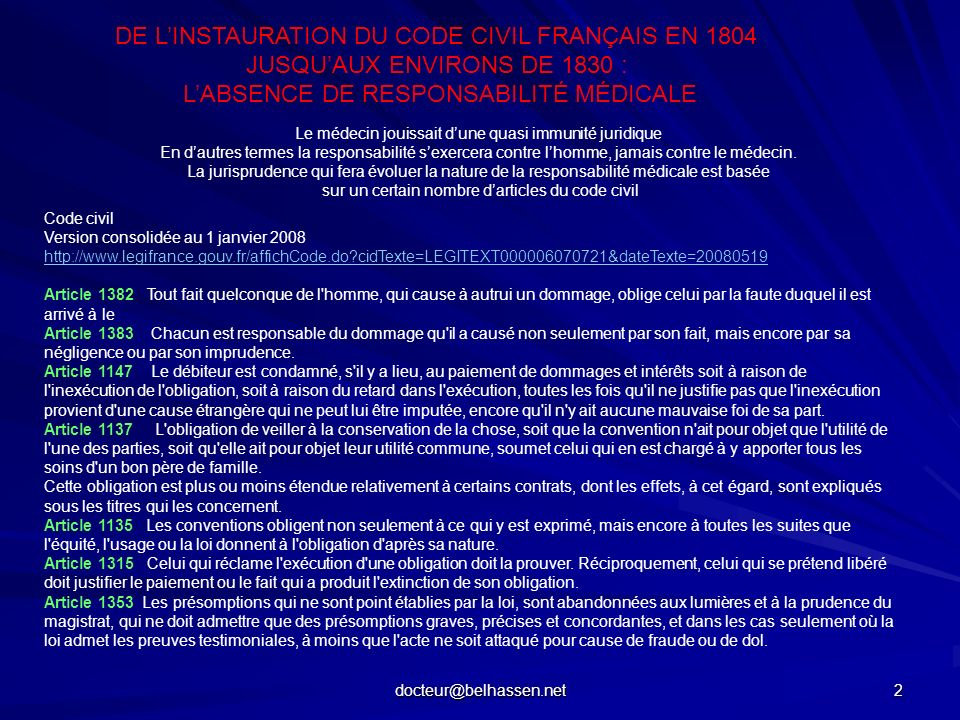DE L'INSTAURATION DU CODE CIVIL FRANÇAIS EN 1804