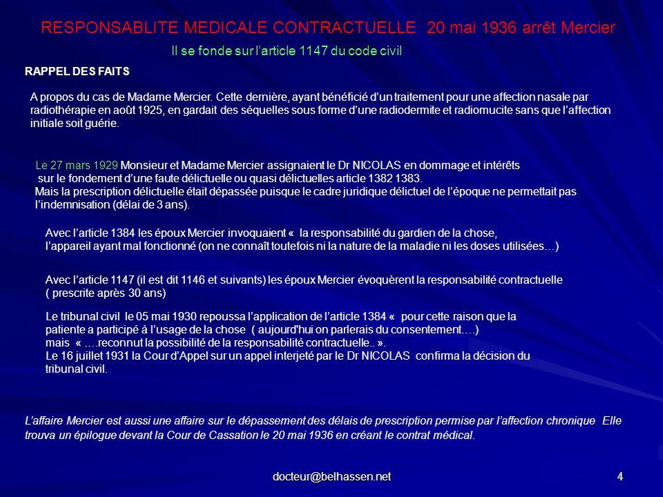RESPONSABLITE MEDICALE CONTRACTUELLE 20 mai 1936 arrêt Mercier