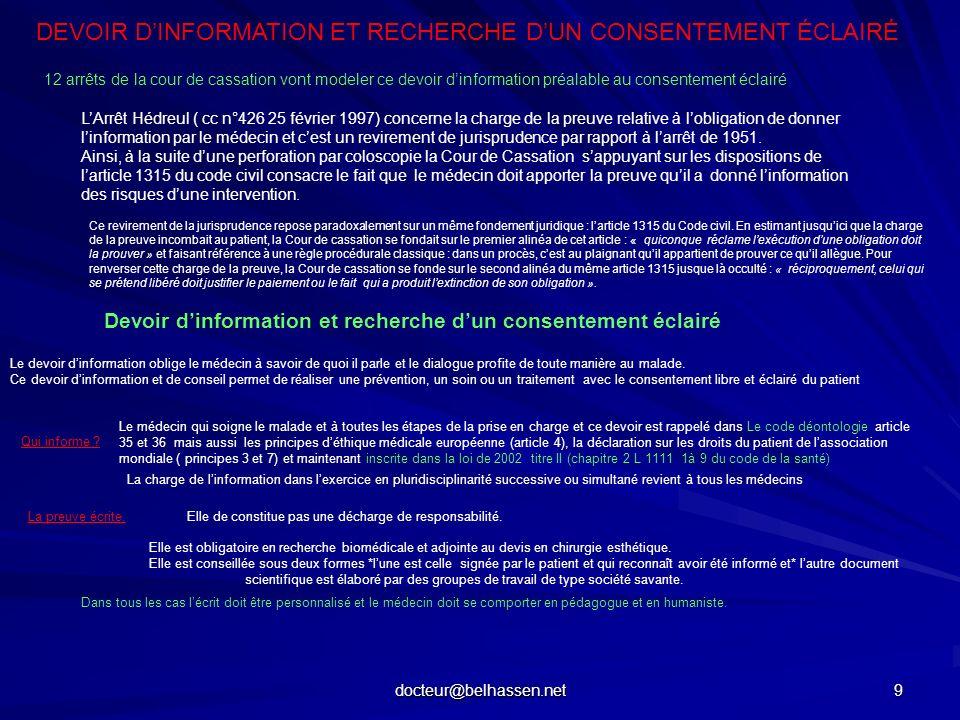 DEVOIR D'INFORMATION ET RECHERCHE D'UN CONSENTEMENT ÉCLAIRÉ