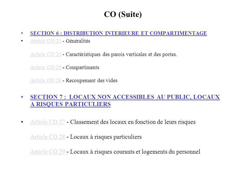 CO (Suite) SECTION 6 : DISTRIBUTION INTERIEURE ET COMPARTIMENTAGE.