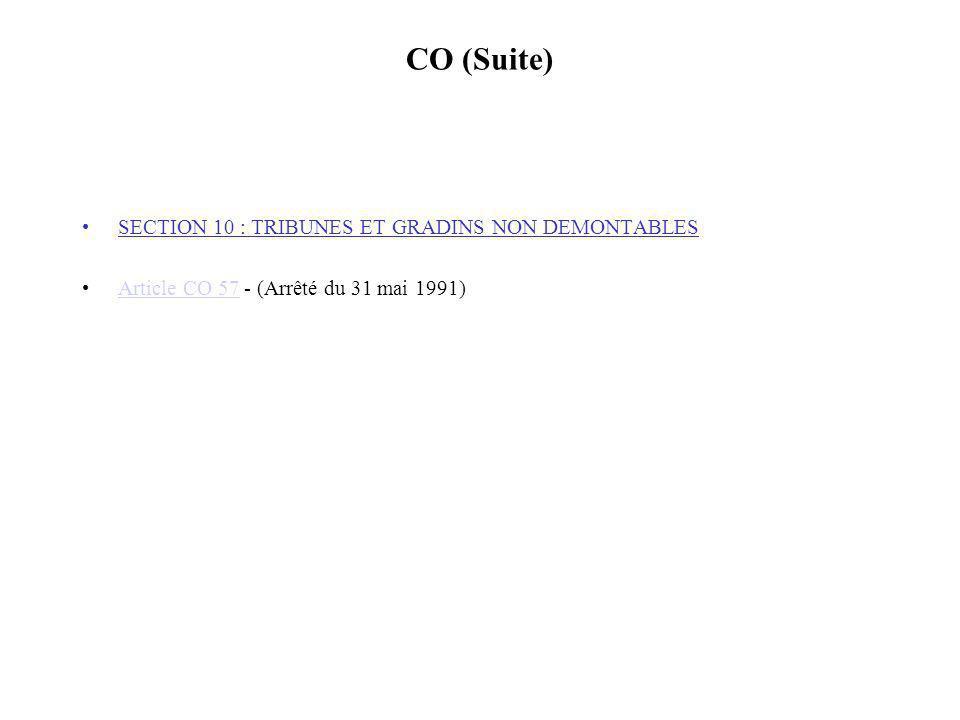 CO (Suite) SECTION 10 : TRIBUNES ET GRADINS NON DEMONTABLES