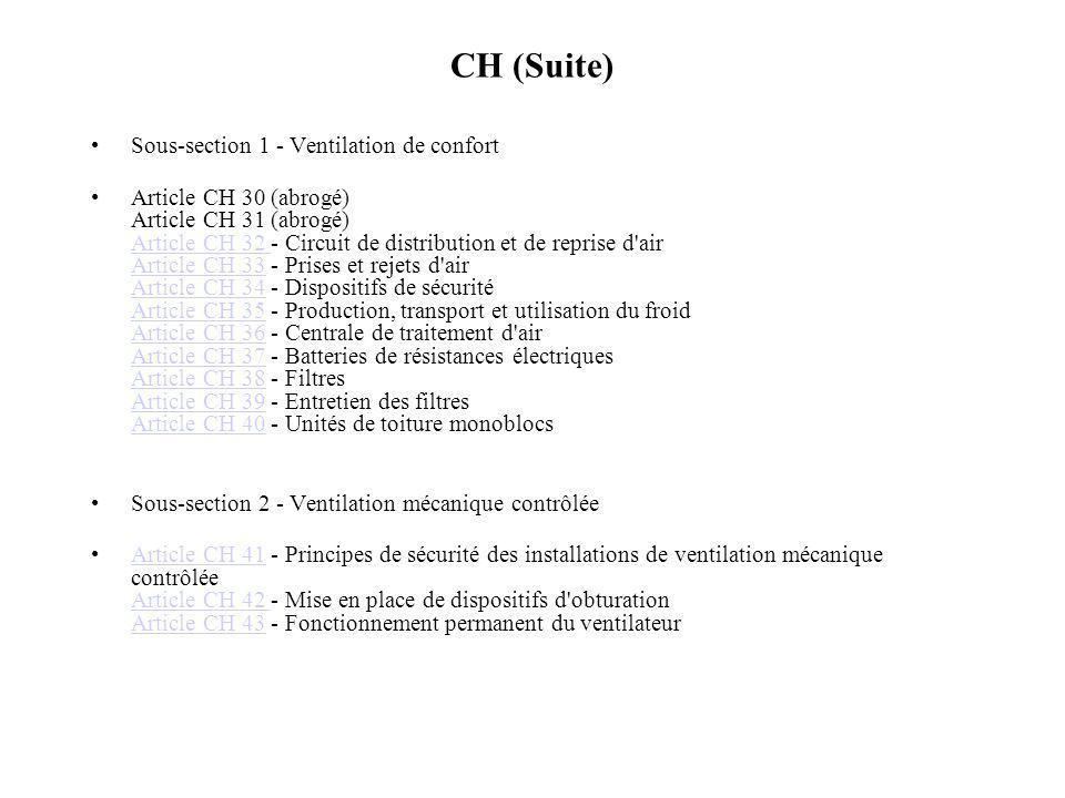 CH (Suite) Sous-section 1 - Ventilation de confort