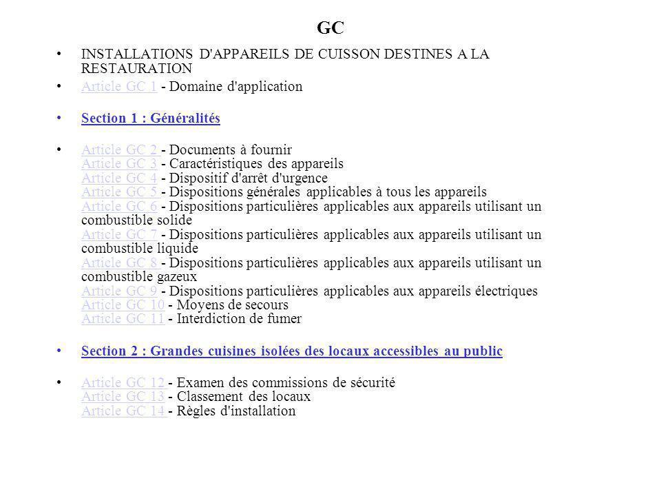 GC INSTALLATIONS D APPAREILS DE CUISSON DESTINES A LA RESTAURATION