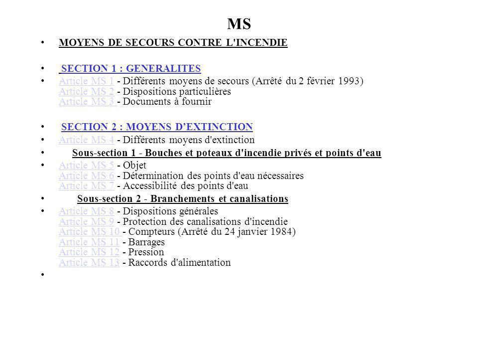 MS MOYENS DE SECOURS CONTRE L INCENDIE SECTION 1 : GENERALITES