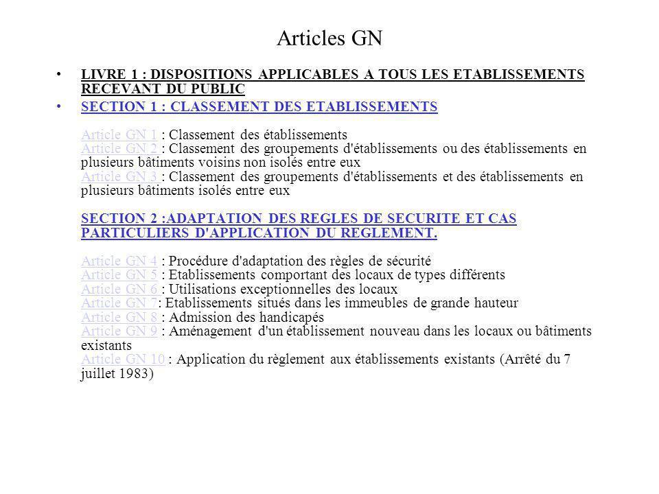 Articles GN LIVRE 1 : DISPOSITIONS APPLICABLES A TOUS LES ETABLISSEMENTS RECEVANT DU PUBLIC.